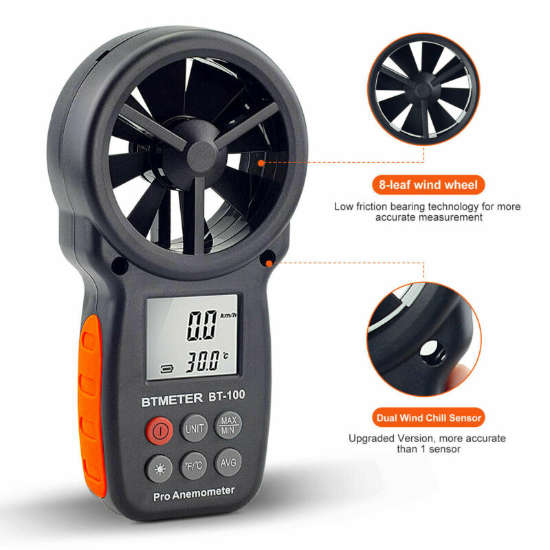 Digital Anemometer Wind Speed Gauge Meter 0.3-30m/s Test Wind Chill Temperature