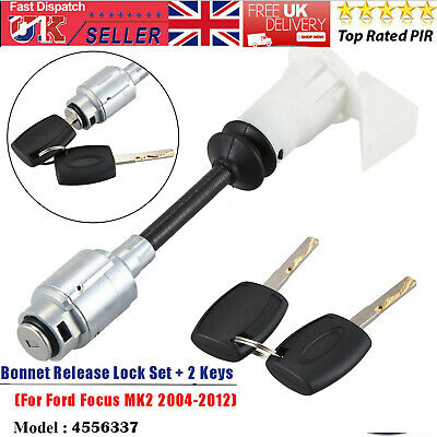 Bonnet Release Lock  Latch Repair Kit Key Set For Ford Focus MK2 04-12 4556337 A