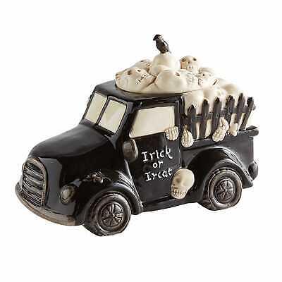 Halloween Truck Black Hearse Candy/ Cookie Jar Crow Skulls New! Pier 1