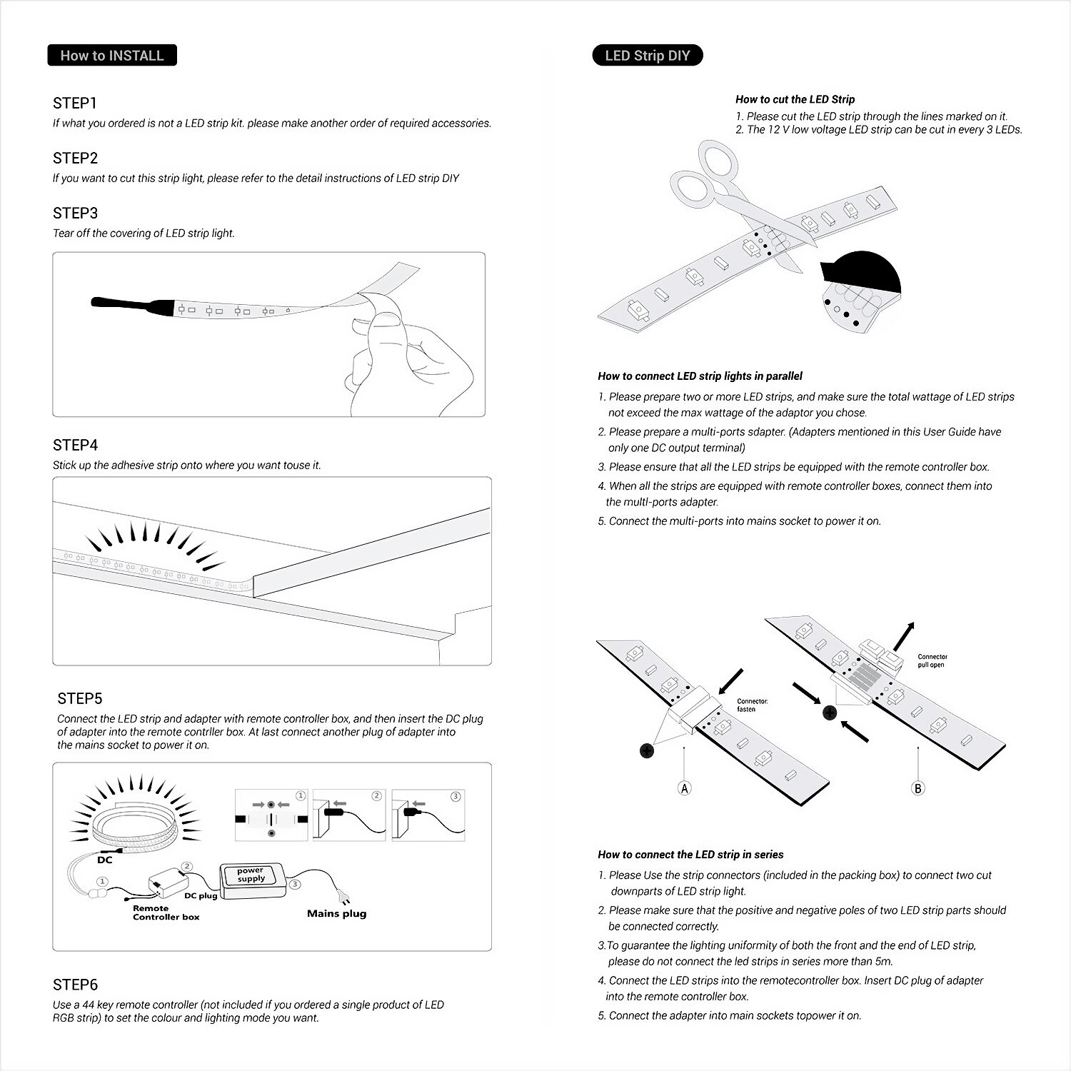 Led Strip Lights As Well Rgb Wiring Diagram On Smd 5050 5m Waterproof Light 44 Key Remote 12vus Eu Power Full Kit