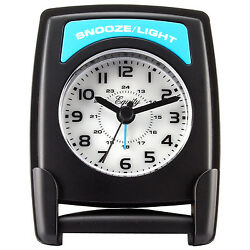 20085 Equity by La Crosse Fold-Up Quartz Travel Alarm Clock with Blue Backlight