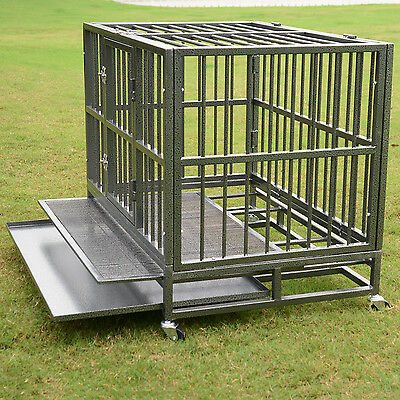 "XL 37""  Dog Cage Crate Heavy Duty Strong Metal Pet Kennel Playpen w/ Wheels Tray"
