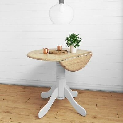 Rhode Island Round Drop Leaf Space Saving Dining Table in White/Natural - RHD008