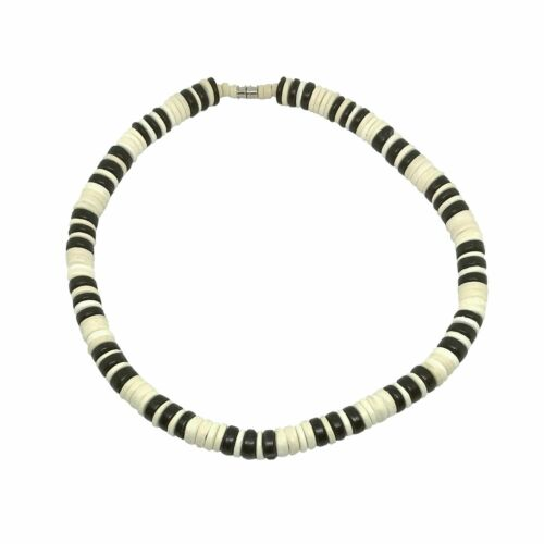 Hawaiian Jewelry Black and White 10mm Coconut Bead Hawaii Surfer Choker Necklace