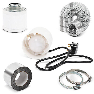 """Kenley 4"""" Fan + Carbon Filter + Duct Kit Hydroponic Grow Room Tent Ventilation"""