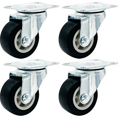 4 Pack 1.5 Low Profile Casters Wheels Soft Rubber Swivel Caster Black