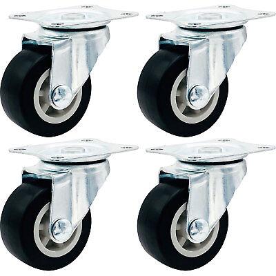4 Pack 1.5 Low Profile Casters Wheels Soft Rubber Swivel Caster Black
