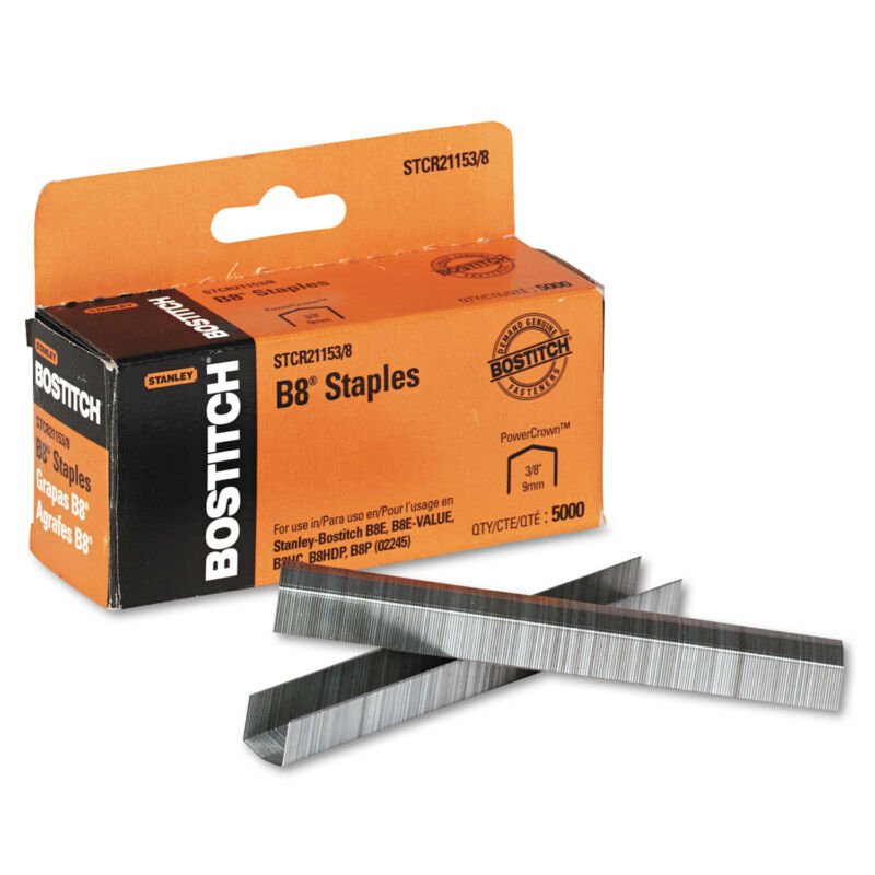 "Bostitch B8 PowerCrown Premium Staples 3/8"" Leg Length 5000/Box STCR211538"