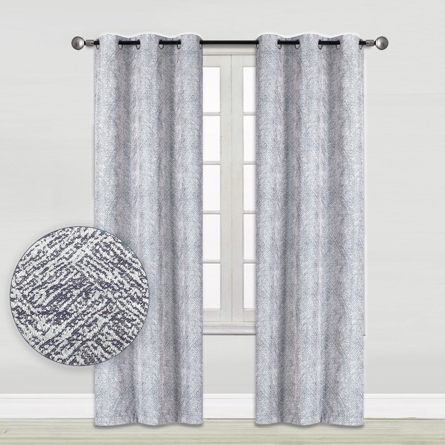 Woven Grey Chevron Blackout Window Curtains 2-Panel Pair 35″ x 84″ or 52″ x 84″ Curtains & Drapes