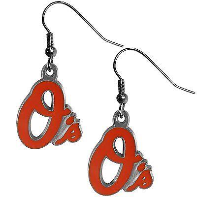 - Baltimore Orioles Baseball Team Logo MLB Charm Silver Drop Dangle Earrings Set