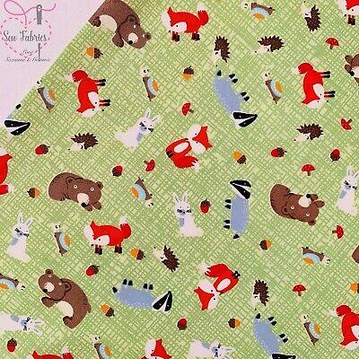 Rose & Hubble Summer Green Woodland Animal Print 100% Cotton Poplin Fabric