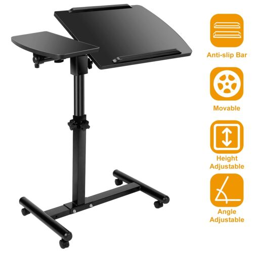 Rolling Over-Bed Laptop Desk Height Angle Adjustable Table Stand Hospital Tray