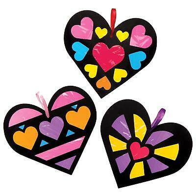 6 Valentines Heart Kids Craft Stained Glass Effect Decoration Mothers Day Gift - Mothers Day Kids Crafts