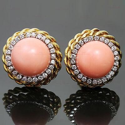 Vintage VAN CLEEF & ARPELS Pink Coral Diamond 18k Yellow Gold Clip-on Earrings