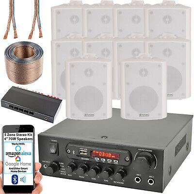 5 Zona Altavoz Bluetooth Kit – 10x 70W Blanco Pared Montaje –...