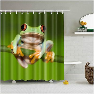 Cute Shower Curtain (Animal Decor Shower Curtain Set Cute Red Eyed Frog Art Bath Curtains + 12)