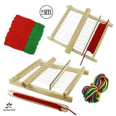 - Weaving Loom Kit 2 Pcs Tapestry Table Top Kids Children Wooden Hardwood Lap Toy