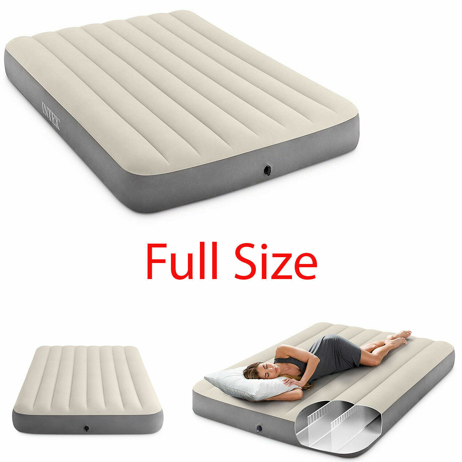 Full Size Inflatable Airbed Camping Firm Mattress High Air B