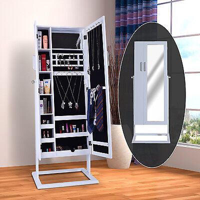 HOMCOM Mirrored Jewelry Cabinet Armoire Stand Large Mirror Storage Furniture New