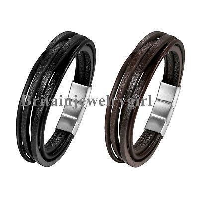 Punk Leather Braided Wristband Stainless Steel Magnetic Bracelet for Men Boys](Bracelets For Boys)