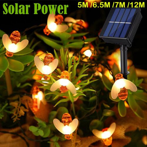 Solar Power Bee LED String Light Waterproof Garden Path Yard Decor Lamp Outdoor