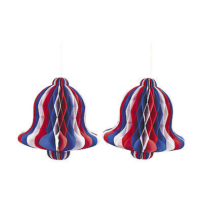 6 tissue bells RED WHITE & BLUE 4TH OF JULY MEMORIAL DAY PATRIOTIC decor 10