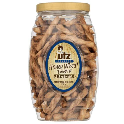 Utz Honey Wheat Braided Pretzel Twists – 26 oz Barrel – Sweet Honey Taste, Thick