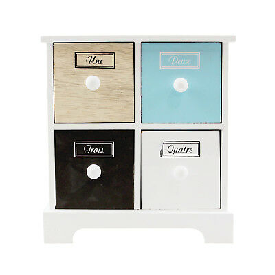 Mini Multi-Coloured Chest of 4 Drawers Contemporary Jewellery Storage Cabinet 4 Drawer Mini Chest