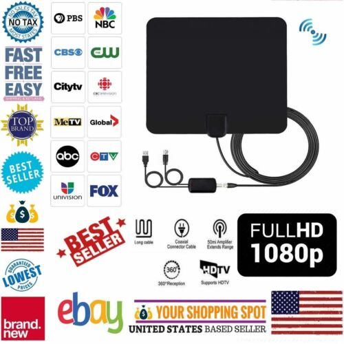 100 Mile Range Antenna TV Digital HD Skywire 4K Antena Digit