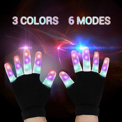 Bunte  LED Handschuhe Leuchtenden Coole Spielzeuge Gloves Party Halloween Club ()