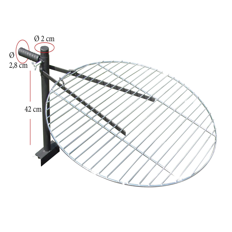 verchromter Grillrost Ø60cm mit Halterung aus Stahl für Feuerschalen bis 80cm