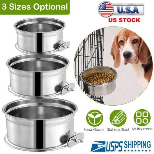 Stainless Steel Crate Dog Bowl Pets Cats Food Water Feeder Hangign with Holder