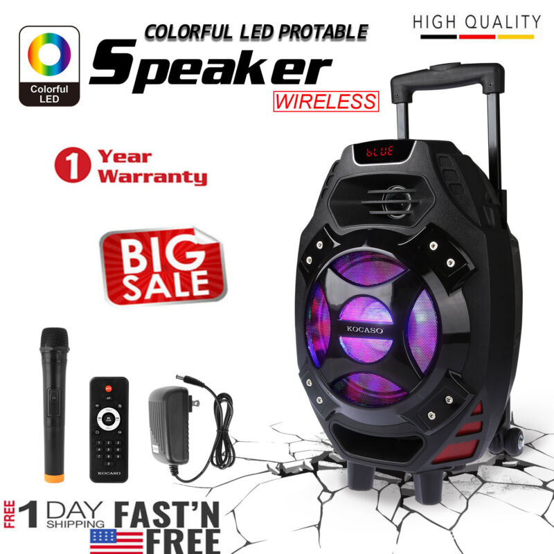 "New 18"" Wireless Portable KARAOKE PARTY PA DJ SPEAKER SYSTEM w/Wireless Mic"