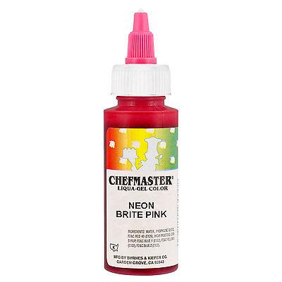 Chefmaster by US Cake Supply 2.3oz Neon Brite Pink Liqua-Gel Cake ...