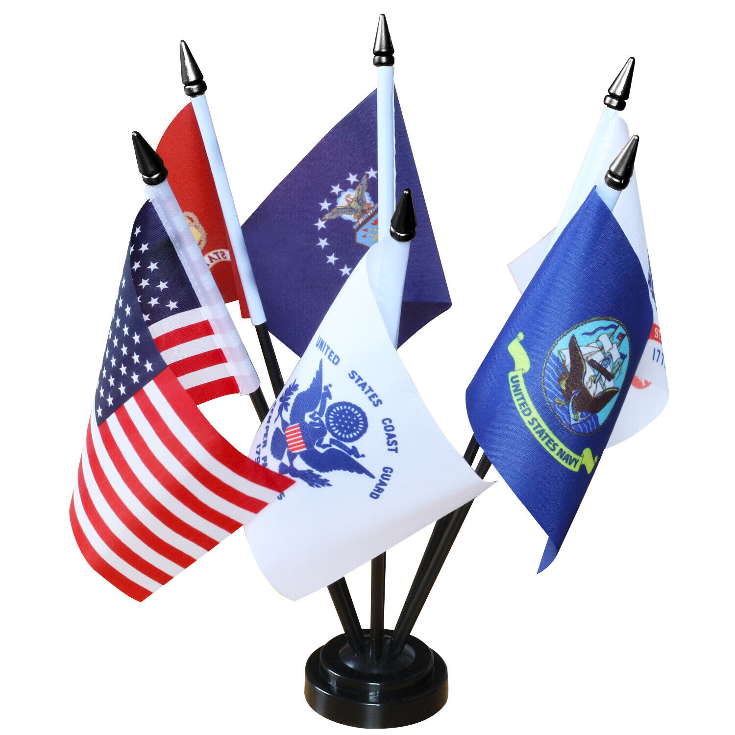 Anley USA Armed Service Desk Flags Set - Miniature Military