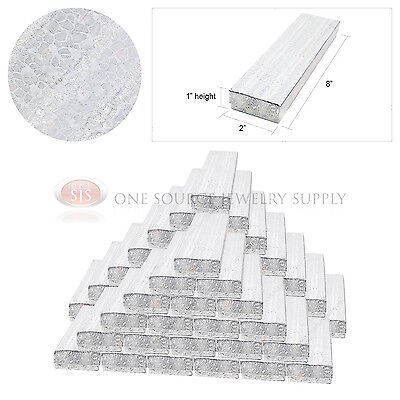 """50 Silver Foil Gift Jewelry Cotton Filled Boxes 8"""" x 2"""" x 1"""" Bracelets Watches"""