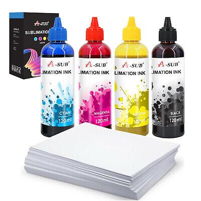Bundle 100 Sheets 8.5x11 Sublimation Transfer Paper Epson Refill Dye Sub Ink