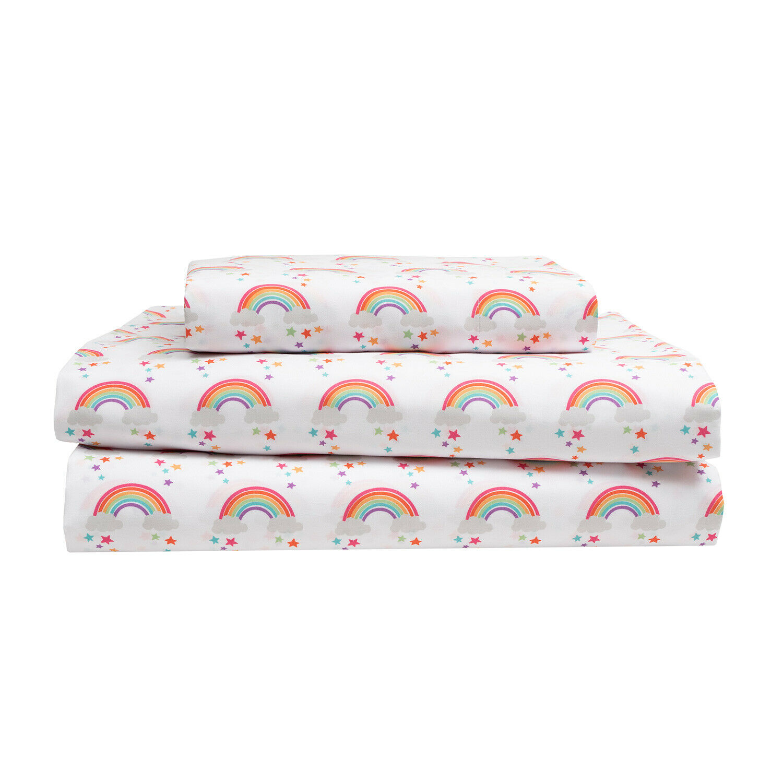 Twin, Full or Queen Rainbow Stars Microfiber Bed Sheet Set Bedding, Pink Purple Bedding