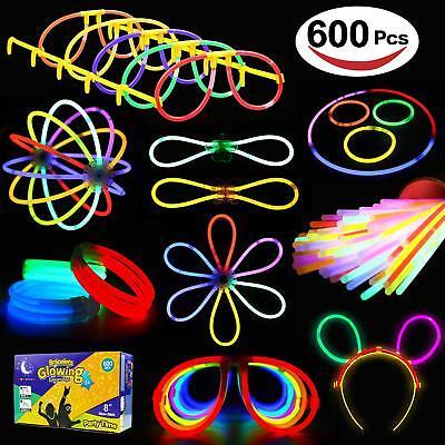 Glowstick, (600 Pcs Total) 250 Glow Sticks Bulk 7 Colour and Connectors for - Bulk Glow Sticks
