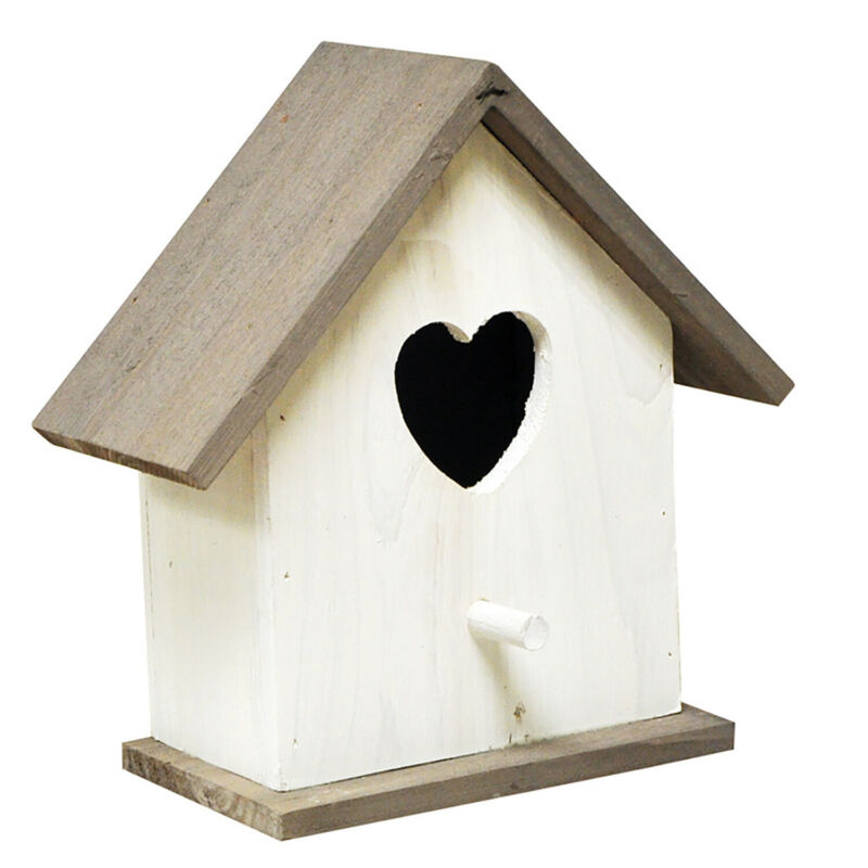 White+wooden+bird+nest+box+house+with+heart+shaped+entrance+hole