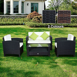 Rattan-Outdoor-Garden-Furniture-Set-Wicker-Weave-Conservatory-Sofa-Patio-4pc