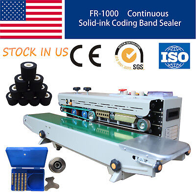 Hot Soild Ink Continuous Band Sealing Machine Coding Printing Sealer Fr-1000 Ce