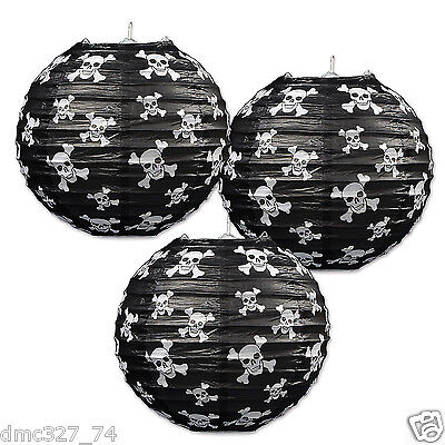 3 PIRATE Party Decoration Skull Crossbones Jolly Roger HANGING PAPER LANTERNS (Pirate Decoration)