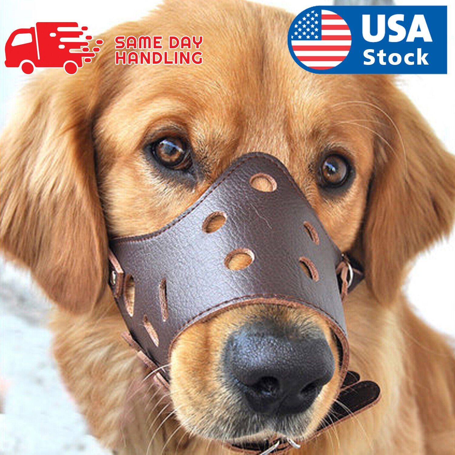 Adjustable Anti-biting Dog Soft PU Leather Muzzles Mouth Mesh Cover Pets Mask Dog Supplies