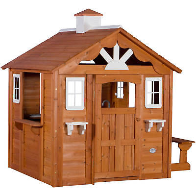 Backyard Playhouse Kid's Knuckle-headed Cedar Summer Cottage Play House with Windows