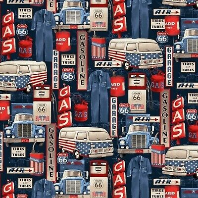 All-American Road Trip-Gas Station Icons-Blue B/G-BTY-Studio E-Route 66 for sale  Shipping to India