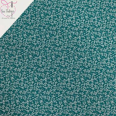 Teal 100% Cotton Ditsy Daisy Fabric