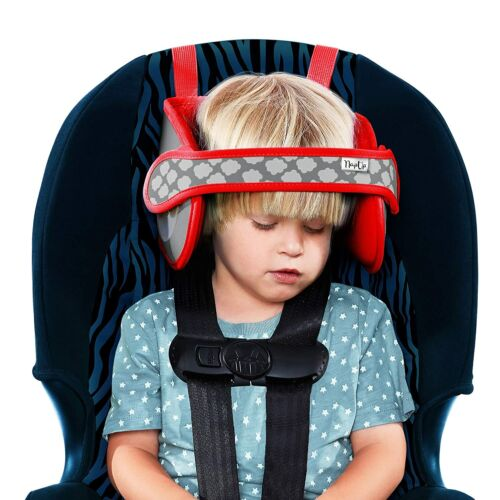 NapUp Child Head Support Car Seats Safe Comfortable Support Solution Light Red