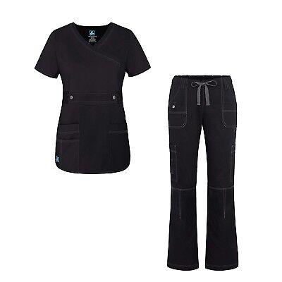 Adar Pop-Stretch Junior Fit Women's Scrub Set - Crossover Top and Multi...