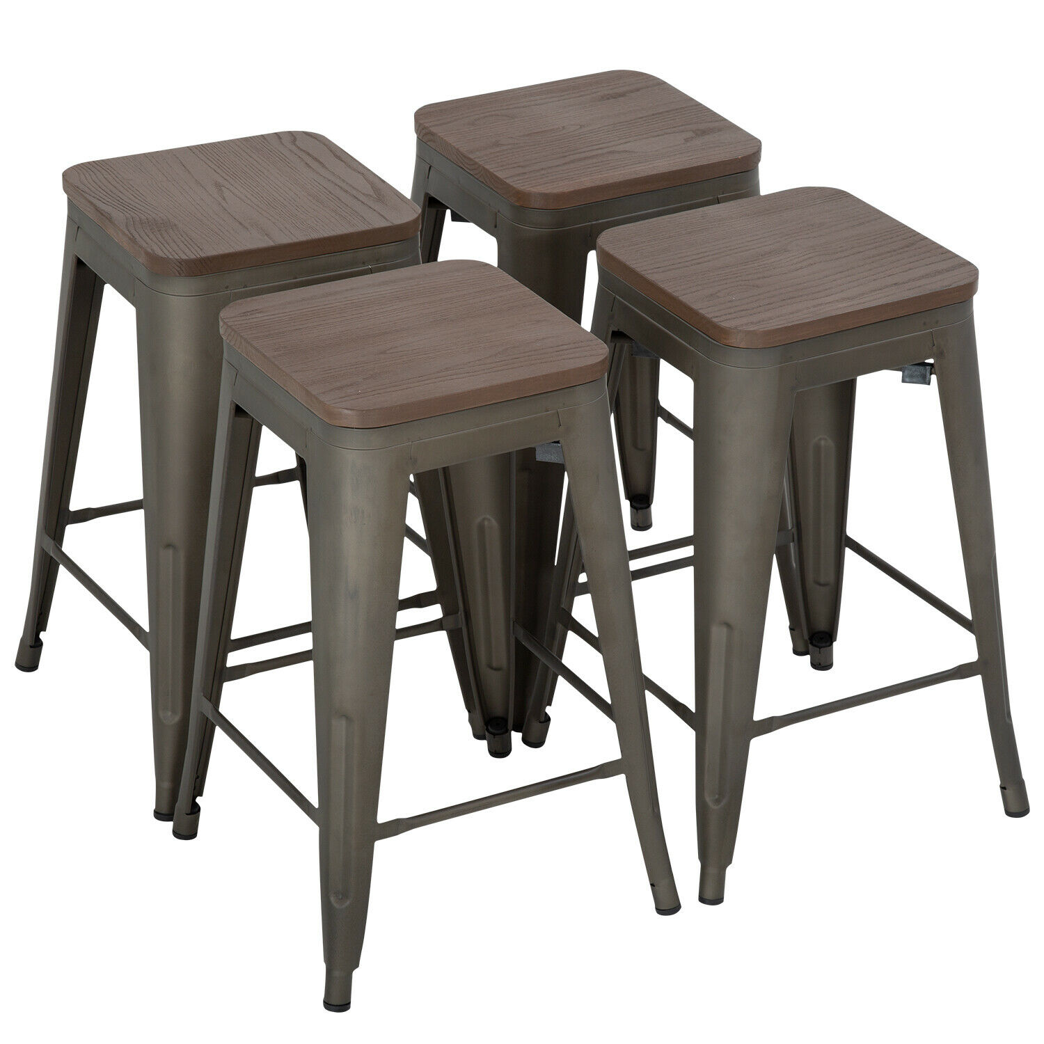 Metal Bar Stools Set Of 4 Counter Height Wood Seat Barstool 24 Inches Industrial Benches, Stools & Bar Stools